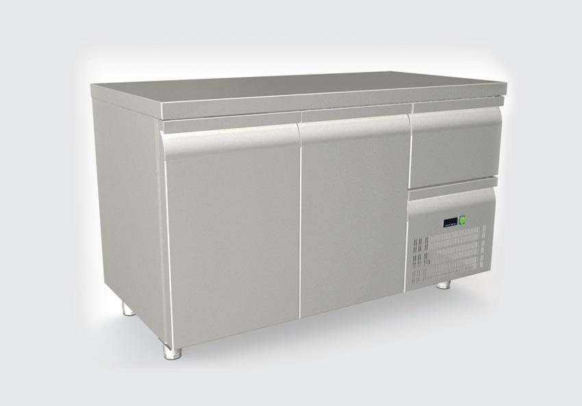 Ψυγείο πάγκος με 2 πορτες 1 συρτάρι και συρταρωτό μοτέρ