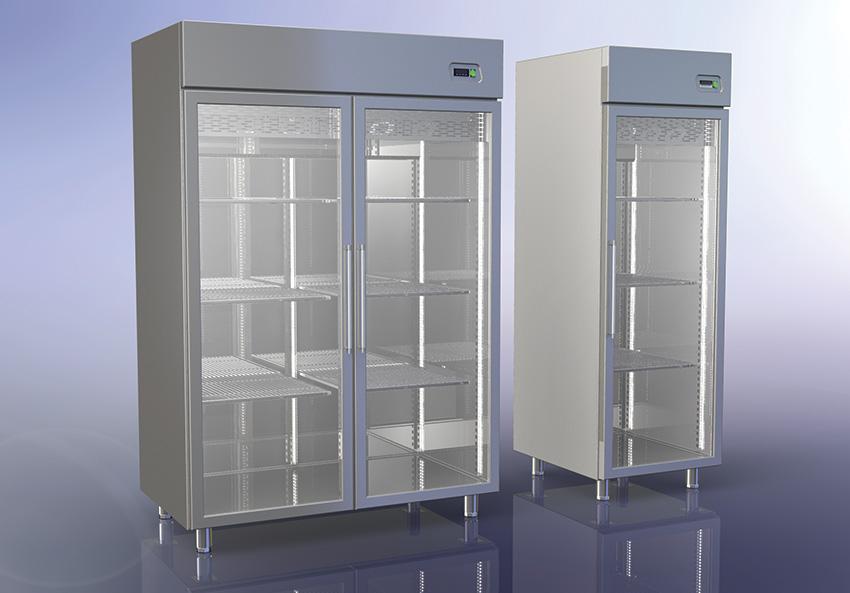 Ψυγείο θάλαμος Inox με κρυστάλλινη πόρτα
